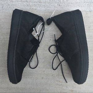 Eileen Fisher Suede Leather Sneaker Black Lace Up